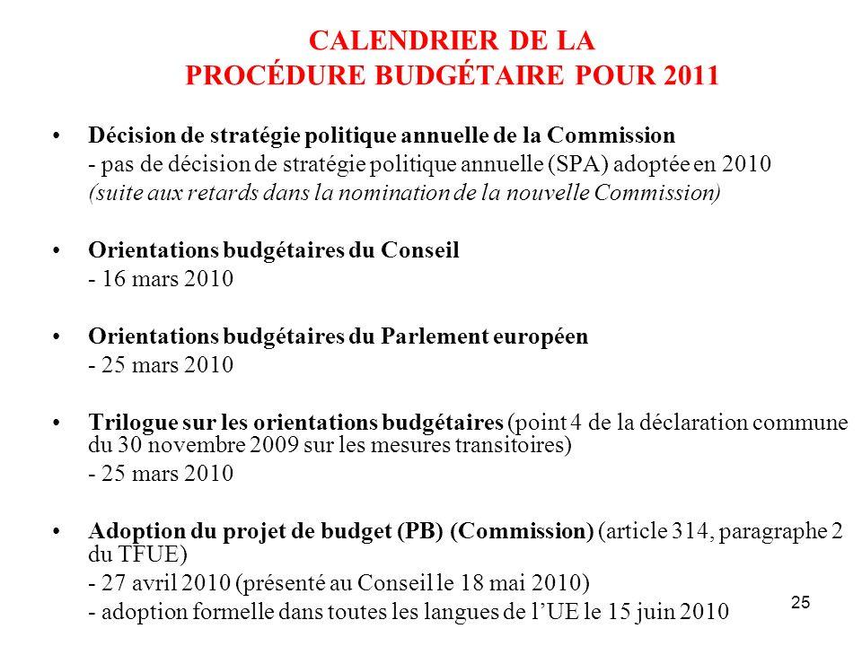 25 CALENDRIER DE LA PROCÉDURE BUDGÉTAIRE POUR 2011 Décision de stratégie politique annuelle de la Commission - pas de décision de stratégie politique annuelle (SPA) adoptée en 2010 (suite aux retards dans la nomination de la nouvelle Commission) Orientations budgétaires du Conseil - 16 mars 2010 Orientations budgétaires du Parlement européen - 25 mars 2010 Trilogue sur les orientations budgétaires (point 4 de la déclaration commune du 30 novembre 2009 sur les mesures transitoires) - 25 mars 2010 Adoption du projet de budget (PB) (Commission) (article 314, paragraphe 2 du TFUE) - 27 avril 2010 (présenté au Conseil le 18 mai 2010) - adoption formelle dans toutes les langues de lUE le 15 juin 2010