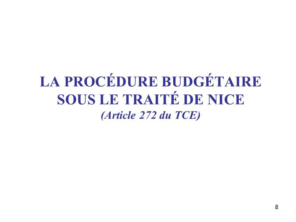 8 LA PROCÉDURE BUDGÉTAIRE SOUS LE TRAITÉ DE NICE (Article 272 du TCE)