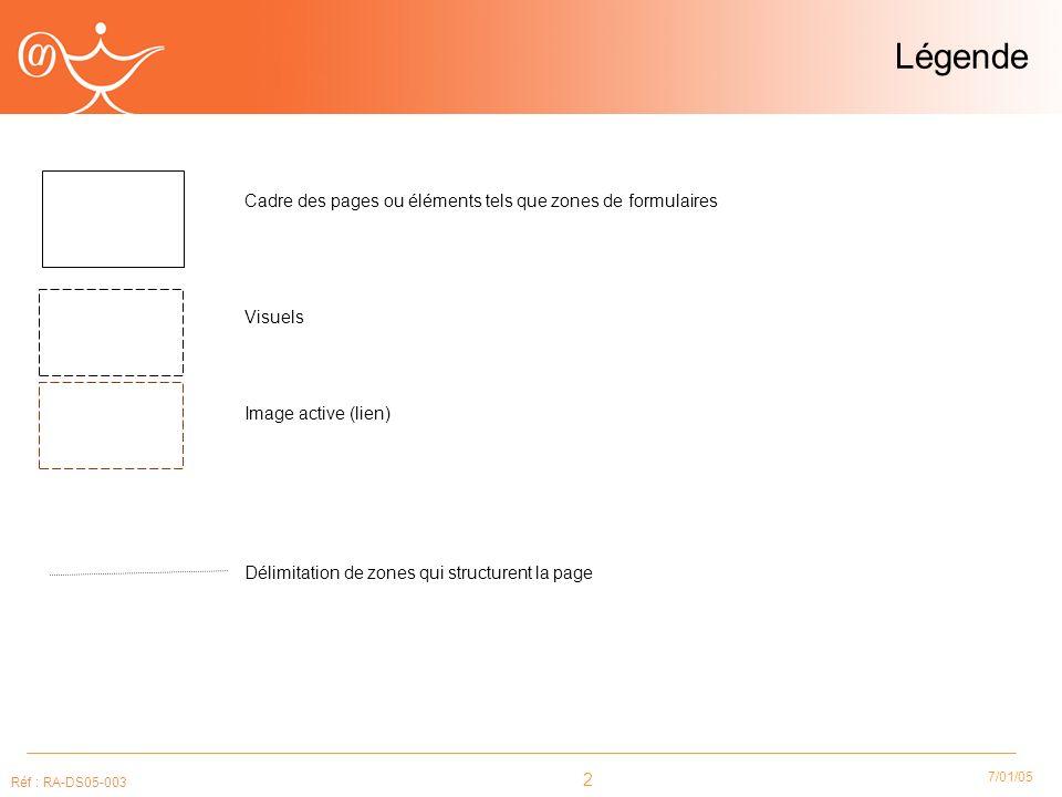 2 7/01/05 Réf : RA-DS05-003 Légende Cadre des pages ou éléments tels que zones de formulaires Visuels Image active (lien) Délimitation de zones qui structurent la page
