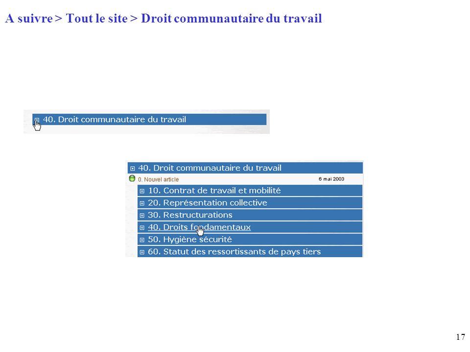 17 Page daccueil (home) A suivre > Tout le site > Droit communautaire du travail