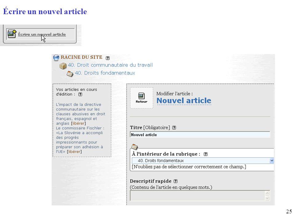 25 Page daccueil (home) Écrire un nouvel article