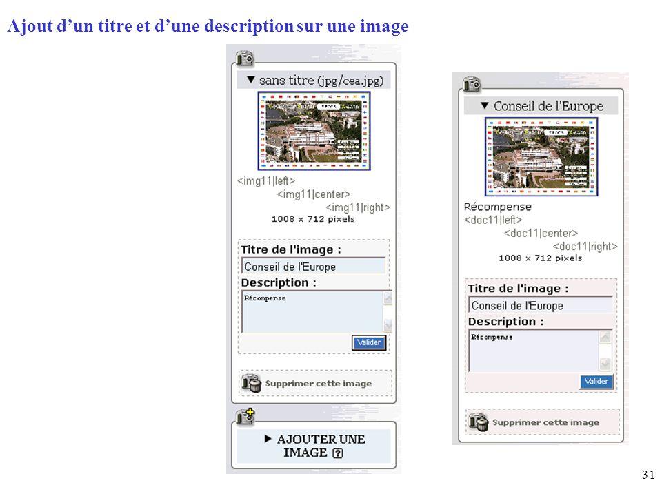 31 Page daccueil (home) Ajout dun titre et dune description sur une image