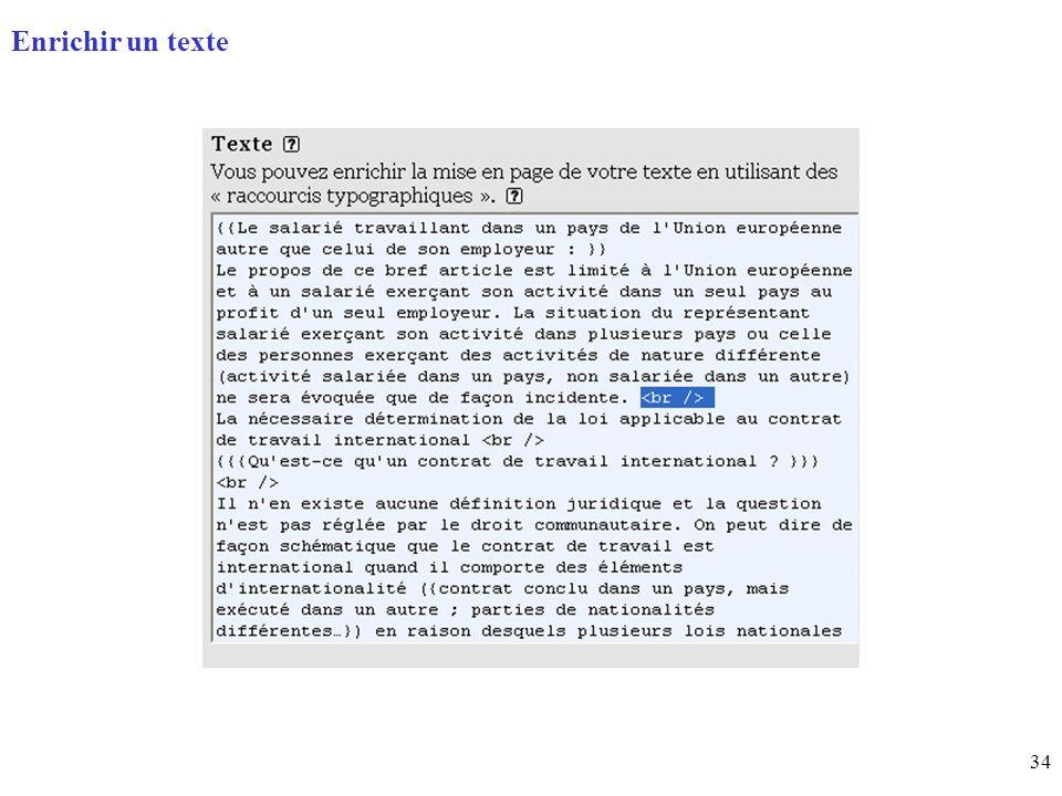 34 Page daccueil (home) Enrichir un texte