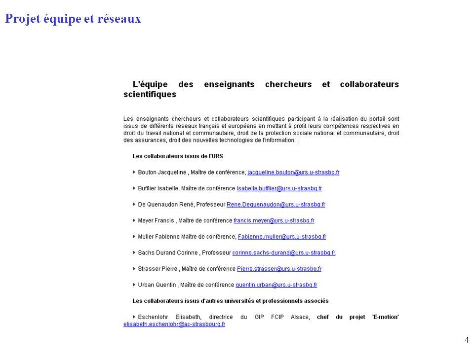 4 Page daccueil (home) Projet équipe et réseaux