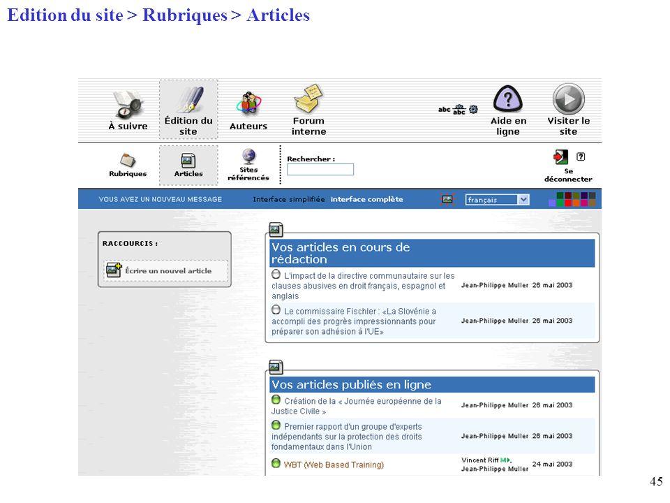 45 Page daccueil (home) Edition du site > Rubriques > Articles