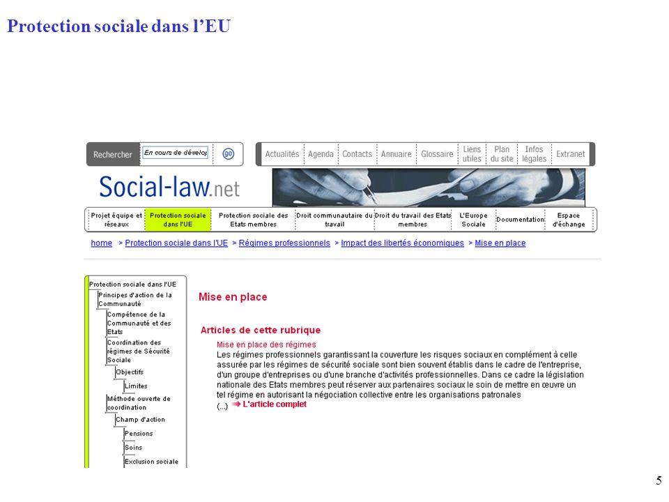 5 Page daccueil (home) Protection sociale dans lEU