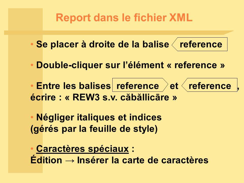 Report dans le fichier XML Se placer à droite de la balise reference Double-cliquer sur lélément « reference » Négliger italiques et indices (gérés par la feuille de style) Caractères spéciaux : Édition Insérer la carte de caractères Entre les balises reference et reference, écrire : « REW3 s.v.
