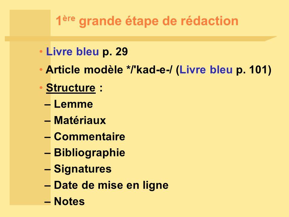 1 ère grande étape de rédaction Livre bleu p. 29 Article modèle */ kad-e-/ (Livre bleu p.