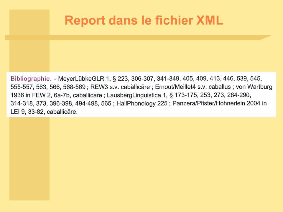 Report dans le fichier XML