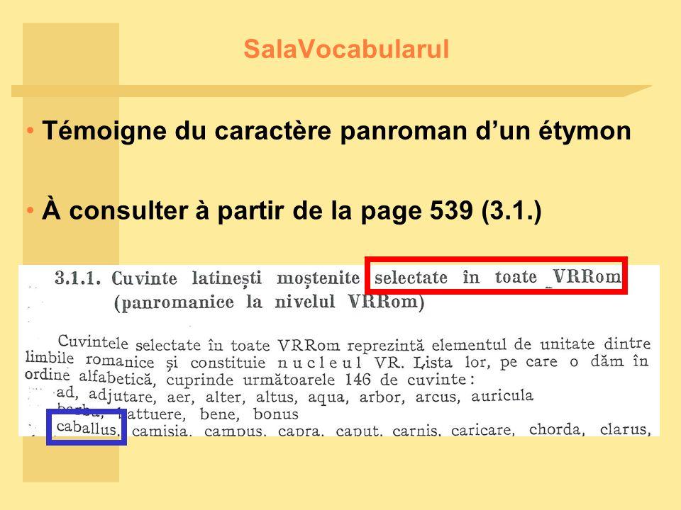 SalaVocabularul Témoigne du caractère panroman dun étymon À consulter à partir de la page 539 (3.1.)