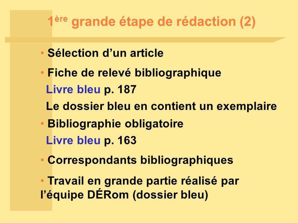 1 ère grande étape de rédaction (2) Sélection dun article Fiche de relevé bibliographique Livre bleu p.