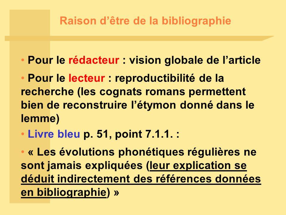 Raison dêtre de la bibliographie Pour le rédacteur : vision globale de larticle Pour le lecteur : reproductibilité de la recherche (les cognats romans permettent bien de reconstruire létymon donné dans le lemme) Livre bleu p.