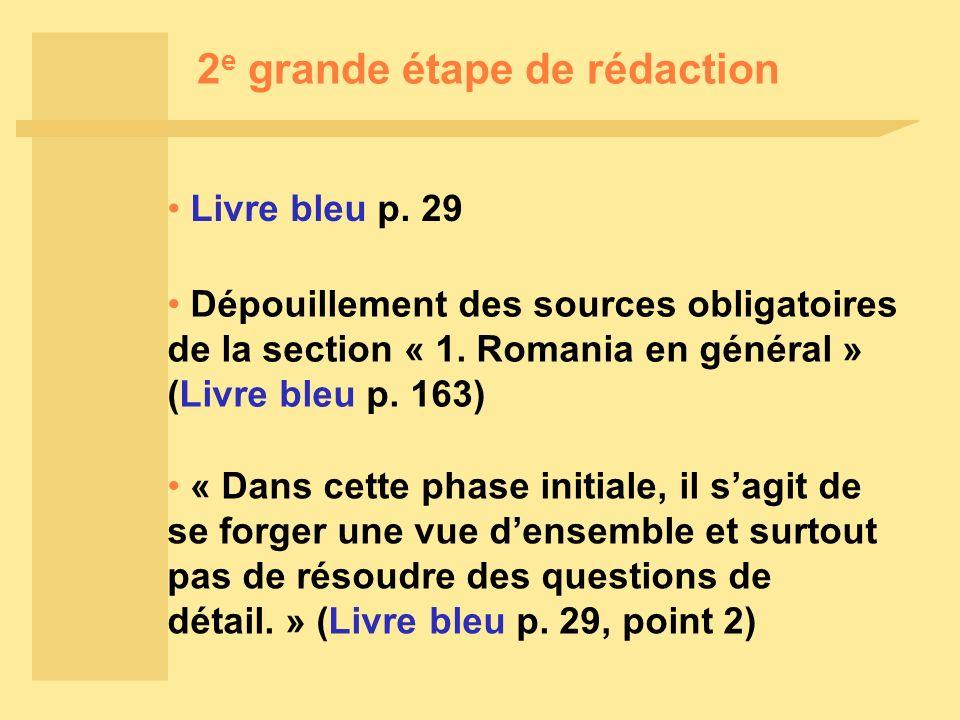 2 e grande étape de rédaction Livre bleu p.