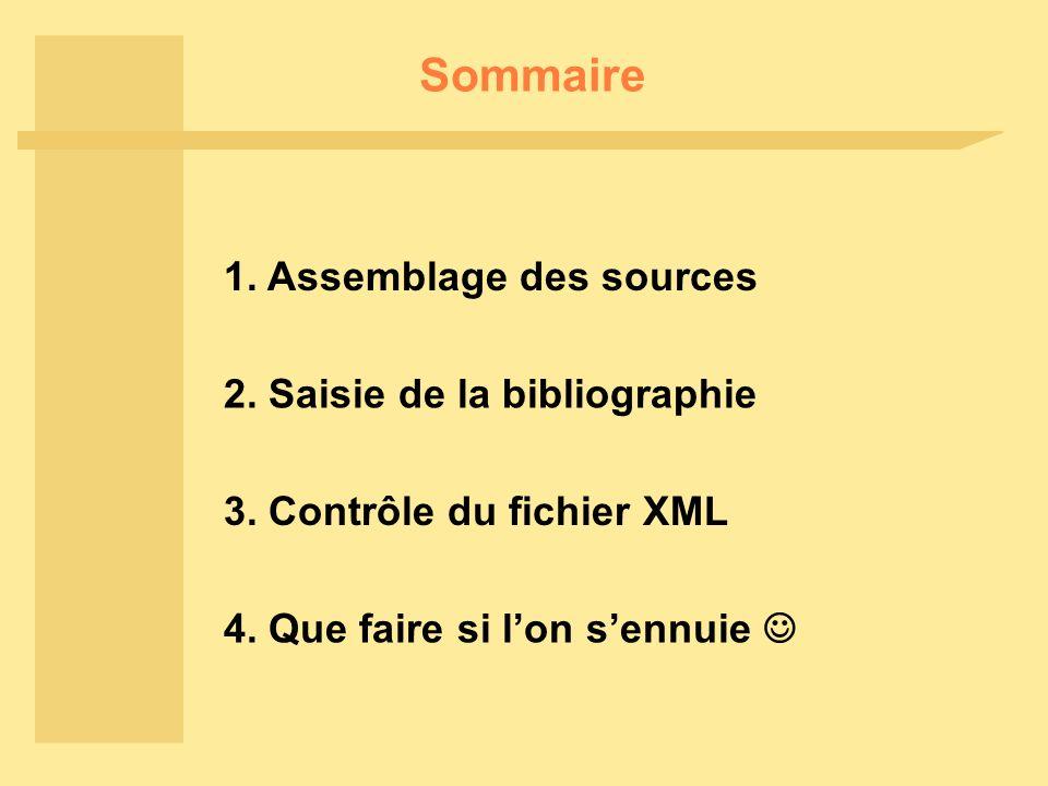 Sommaire 1. Assemblage des sources 2. Saisie de la bibliographie 3.