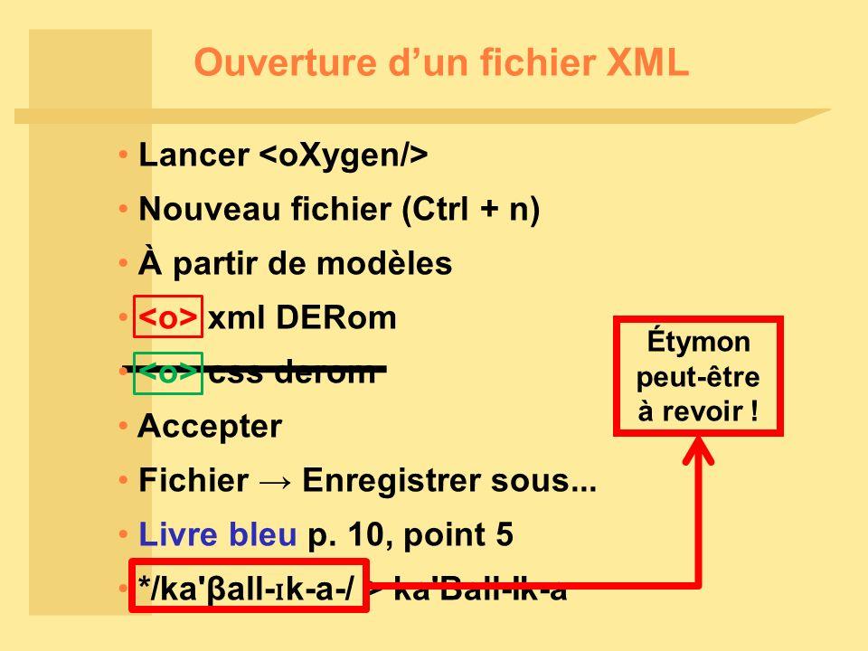 Ouverture dun fichier XML Lancer Nouveau fichier (Ctrl + n) À partir de modèles Accepter Fichier Enregistrer sous...