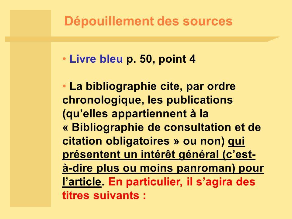 Dépouillement des sources Livre bleu p.
