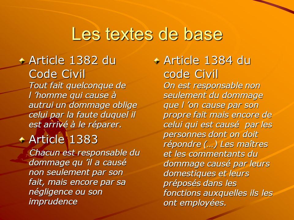 Les textes de base Article 1382 du Code Civil Tout fait quelconque de l homme qui cause à autrui un dommage oblige celui par la faute duquel il est ar