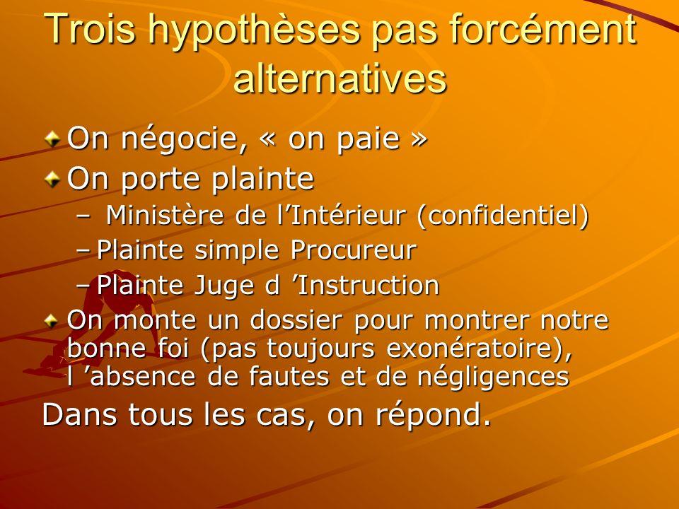 Trois hypothèses pas forcément alternatives On négocie, « on paie » On porte plainte – Ministère de lIntérieur (confidentiel) –Plainte simple Procureu