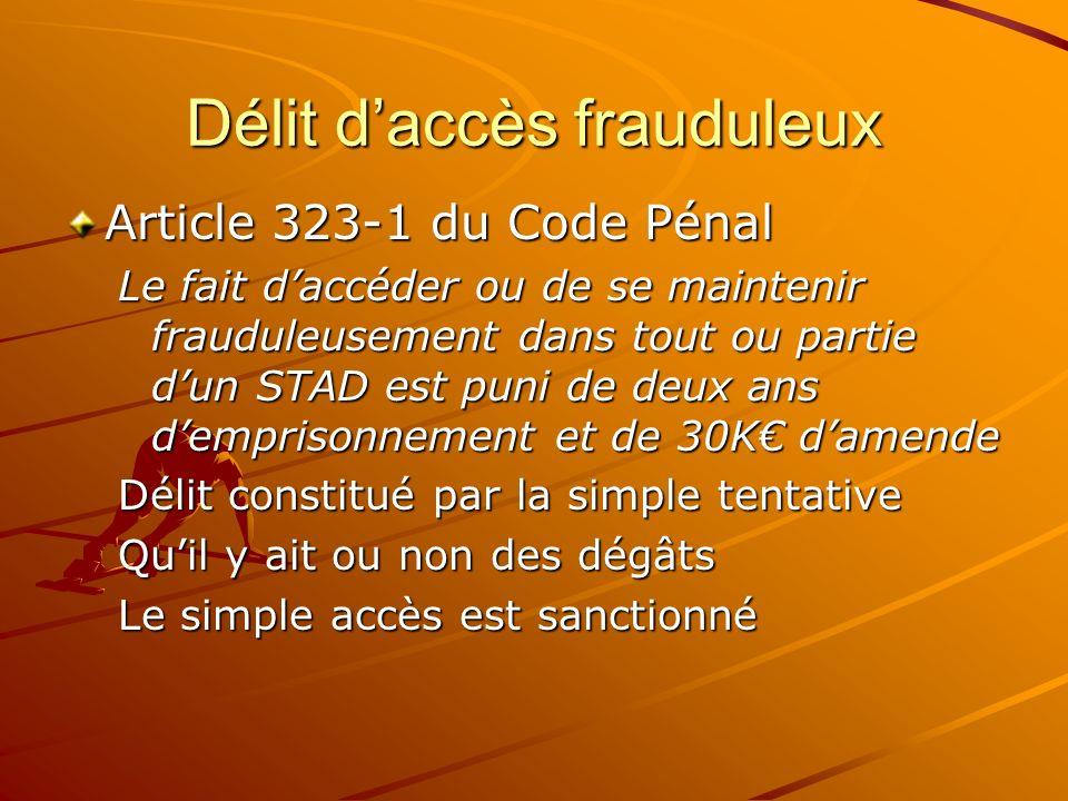 Délit daccès frauduleux Article 323-1 du Code Pénal Le fait daccéder ou de se maintenir frauduleusement dans tout ou partie dun STAD est puni de deux