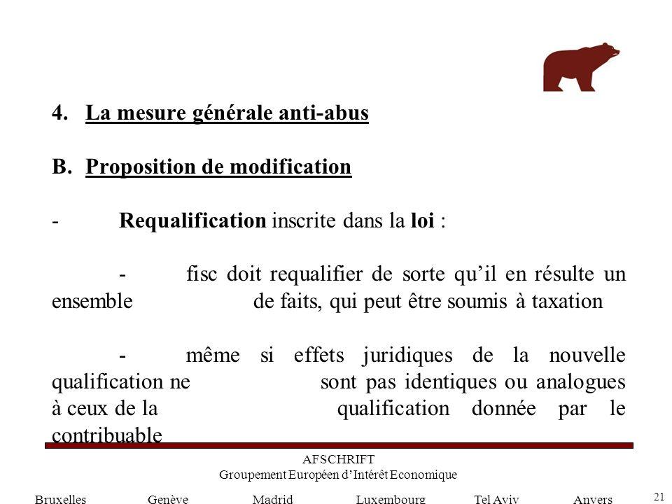 21 GenèveLuxembourgMadridTel AvivAnvers 4.La mesure générale anti-abus B.