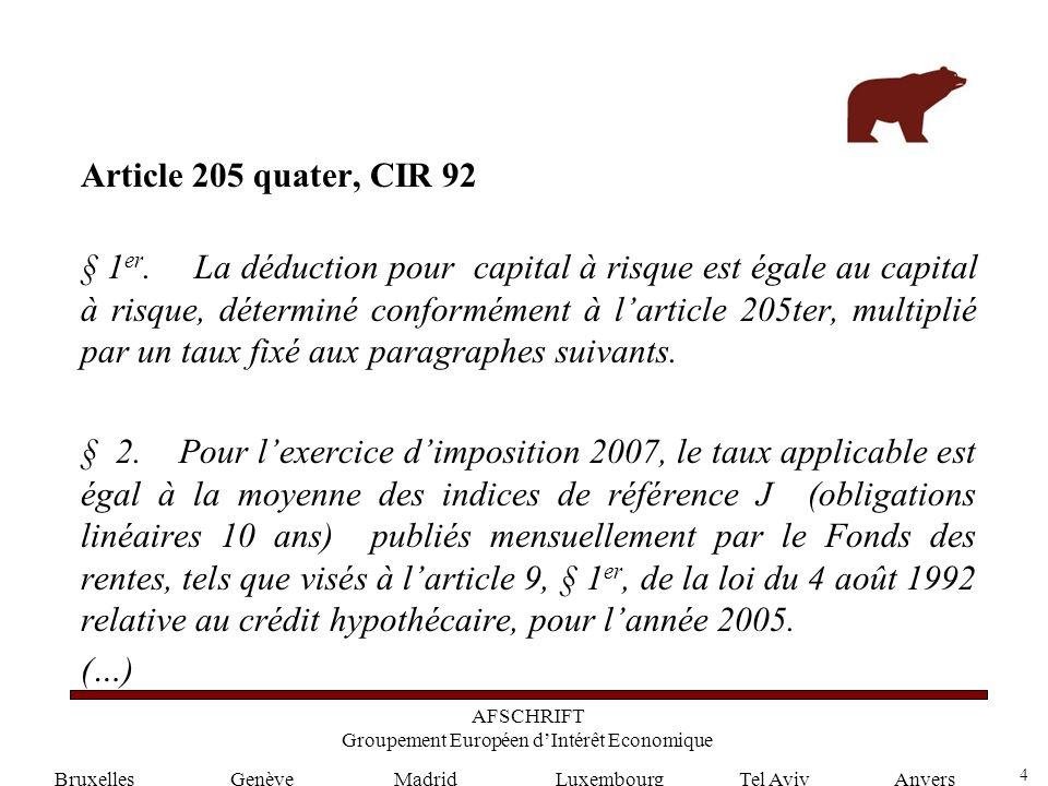4 GenèveLuxembourgMadridTel AvivAnvers Article 205 quater, CIR 92 § 1 er.