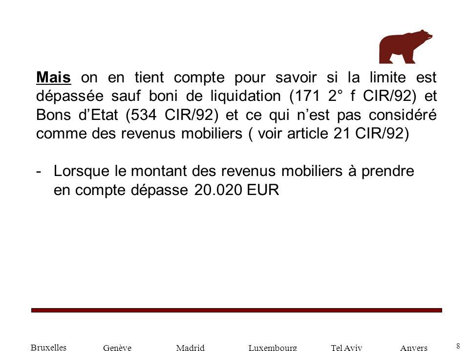 8 GenèveLuxembourgMadridTel AvivAnvers Mais on en tient compte pour savoir si la limite est dépassée sauf boni de liquidation (171 2° f CIR/92) et Bon