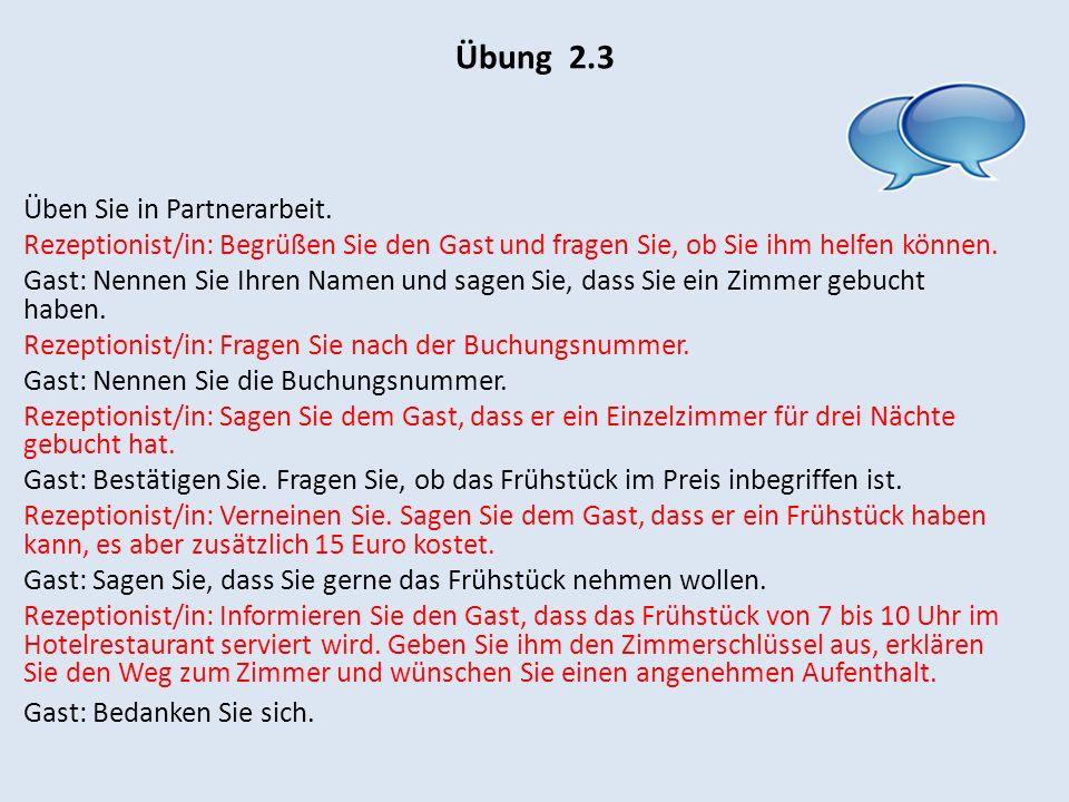 Übung 2.4 Lesen Sie den Brief durch und beantworten Sie die anschließenden Fragen.