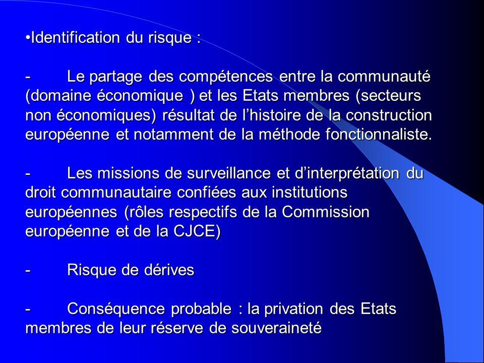 Identification du risque : - Le partage des compétences entre la communauté (domaine économique ) et les Etats membres (secteurs non économiques) résu