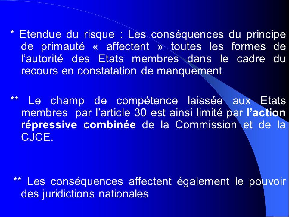 * Etendue du risque : Les conséquences du principe de primauté « affectent » toutes les formes de lautorité des Etats membres dans le cadre du recours