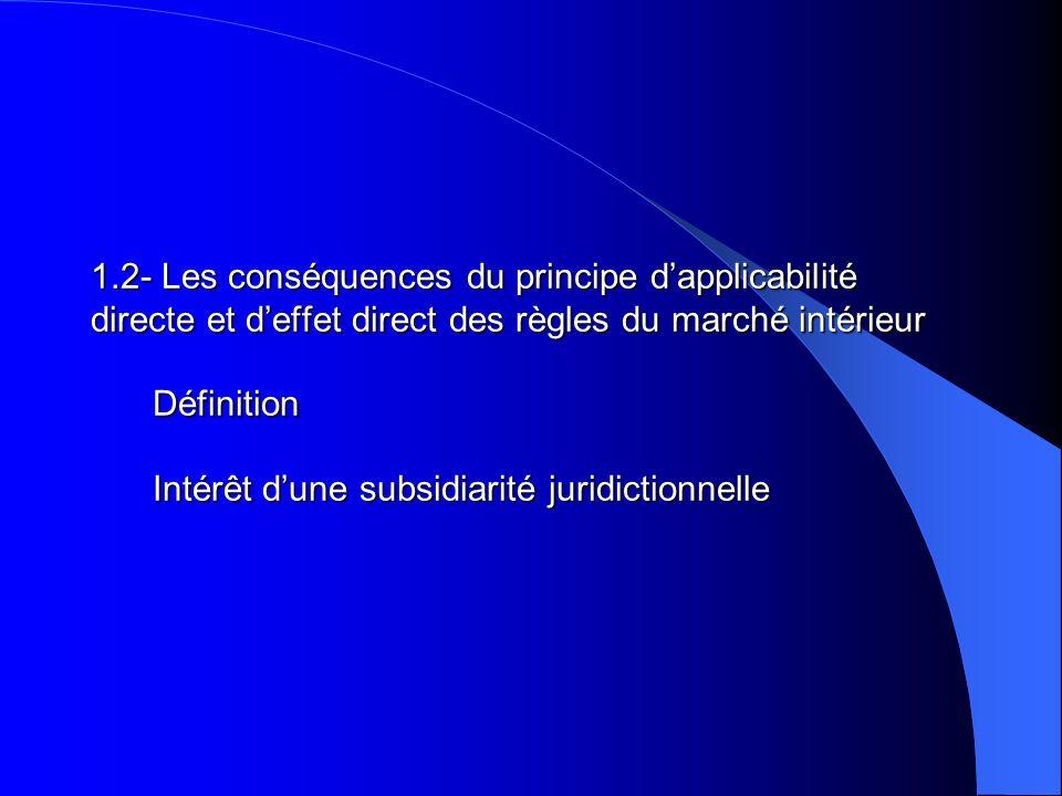 1.2- Les conséquences du principe dapplicabilité directe et deffet direct des règles du marché intérieur Définition Intérêt dune subsidiarité juridict