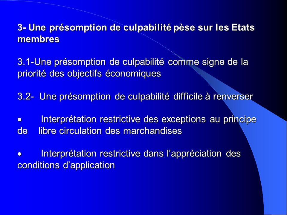3- Une présomption de culpabilité pèse sur les Etats membres 3.1-Une présomption de culpabilité comme signe de la priorité des objectifs économiques 3