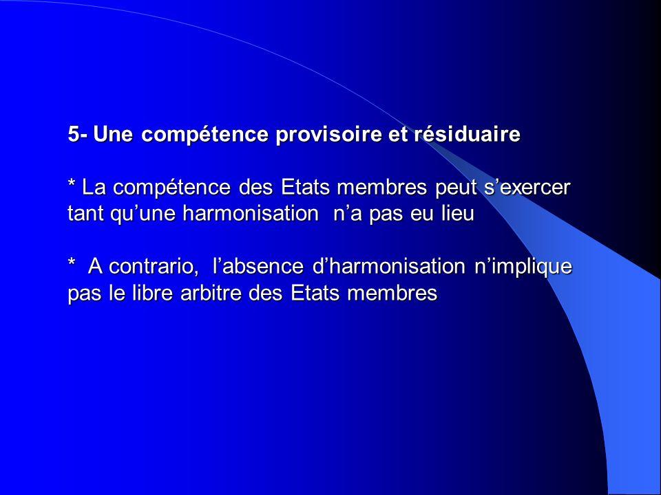 5- Une compétence provisoire et résiduaire * La compétence des Etats membres peut sexercer tant quune harmonisation na pas eu lieu * A contrario, labs