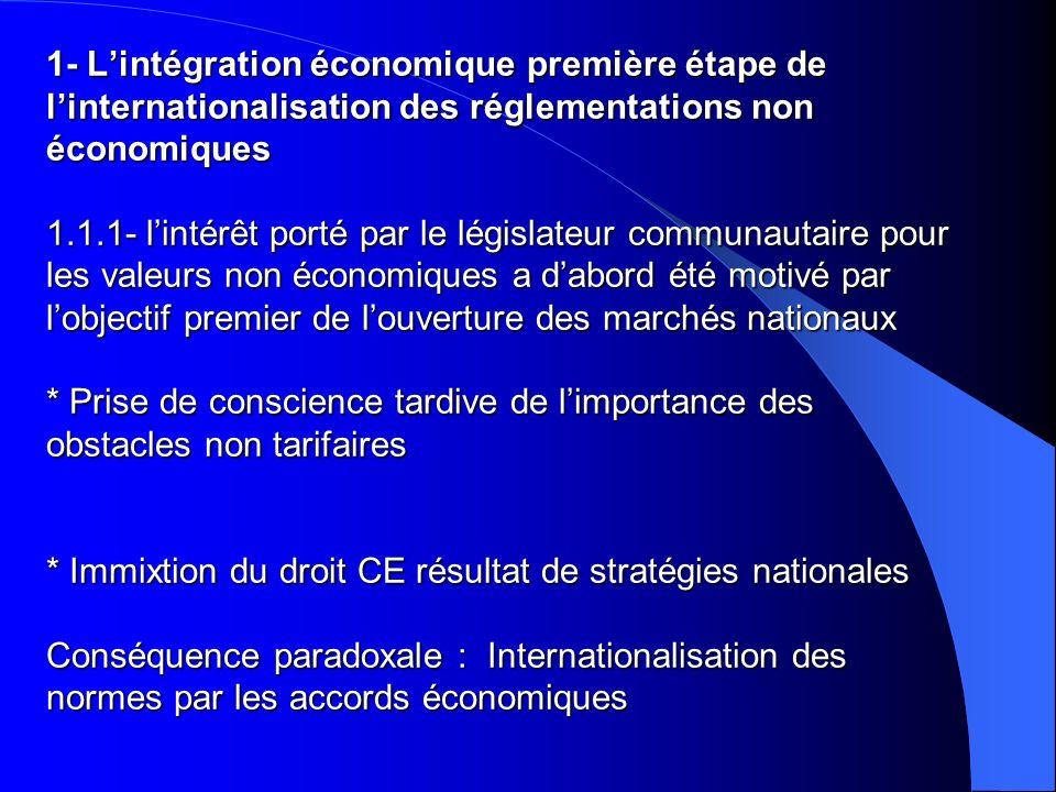 1- Lintégration économique première étape de linternationalisation des réglementations non économiques 1.1.1- lintérêt porté par le législateur commun