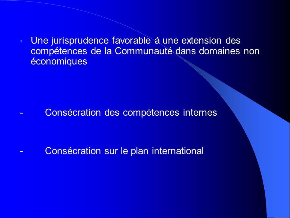 Une jurisprudence favorable à une extension des compétences de la Communauté dans domaines non économiques - Consécration des compétences internes - C