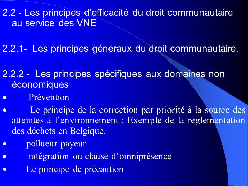 2.2 - Les principes defficacité du droit communautaire au service des VNE 2.2.1- Les principes généraux du droit communautaire. 2.2.2 - Les principes