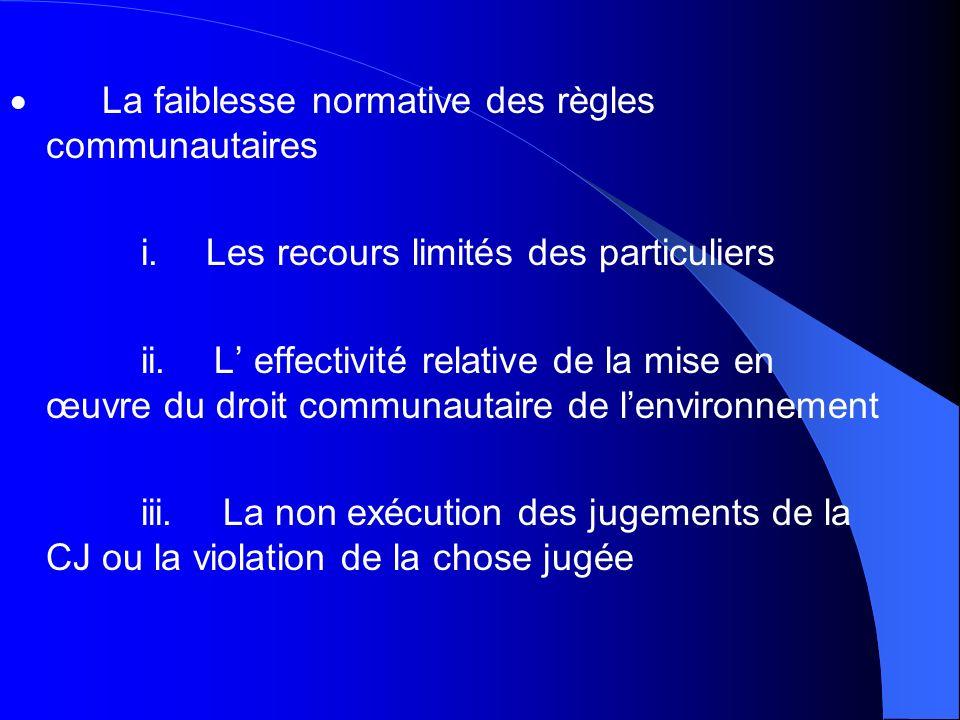La faiblesse normative des règles communautaires i. Les recours limités des particuliers ii. L effectivité relative de la mise en œuvre du droit commu