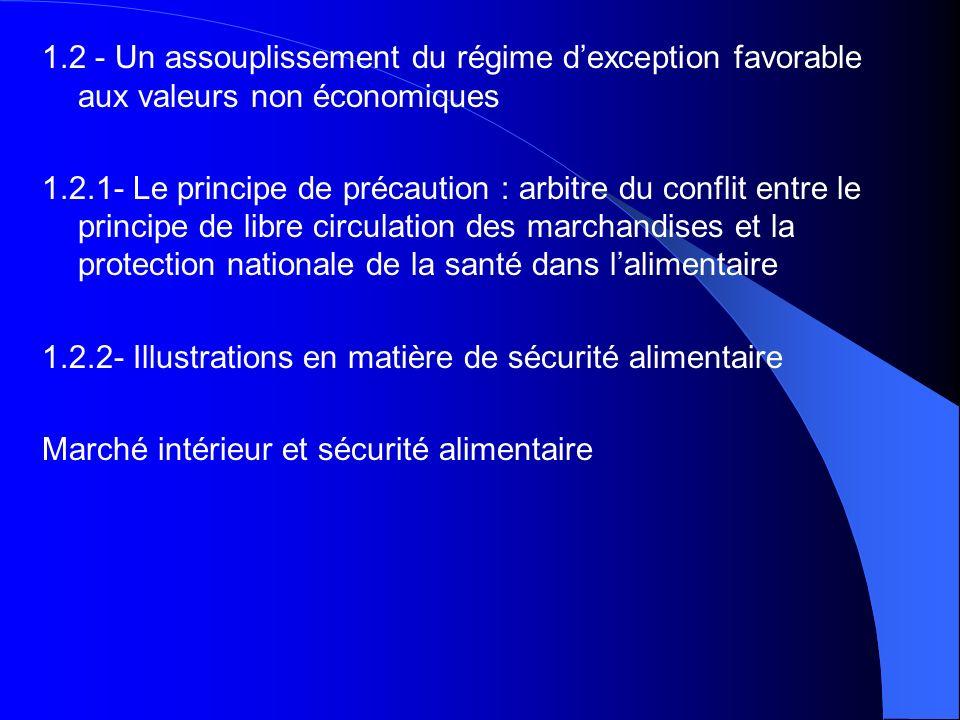 1.2 - Un assouplissement du régime dexception favorable aux valeurs non économiques 1.2.1- Le principe de précaution : arbitre du conflit entre le pri