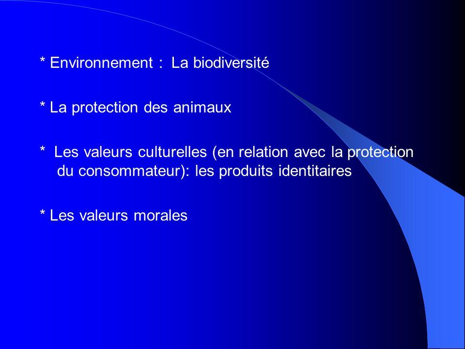 * Environnement : La biodiversité * La protection des animaux * Les valeurs culturelles (en relation avec la protection du consommateur): les produits