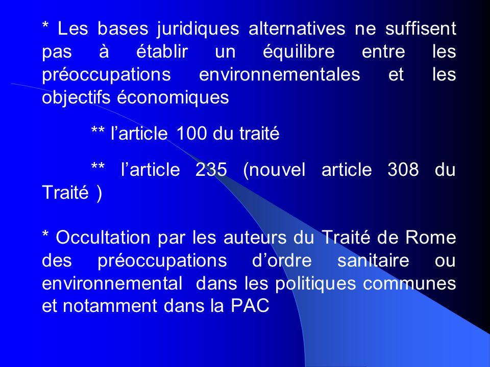 * Les bases juridiques alternatives ne suffisent pas à établir un équilibre entre les préoccupations environnementales et les objectifs économiques **