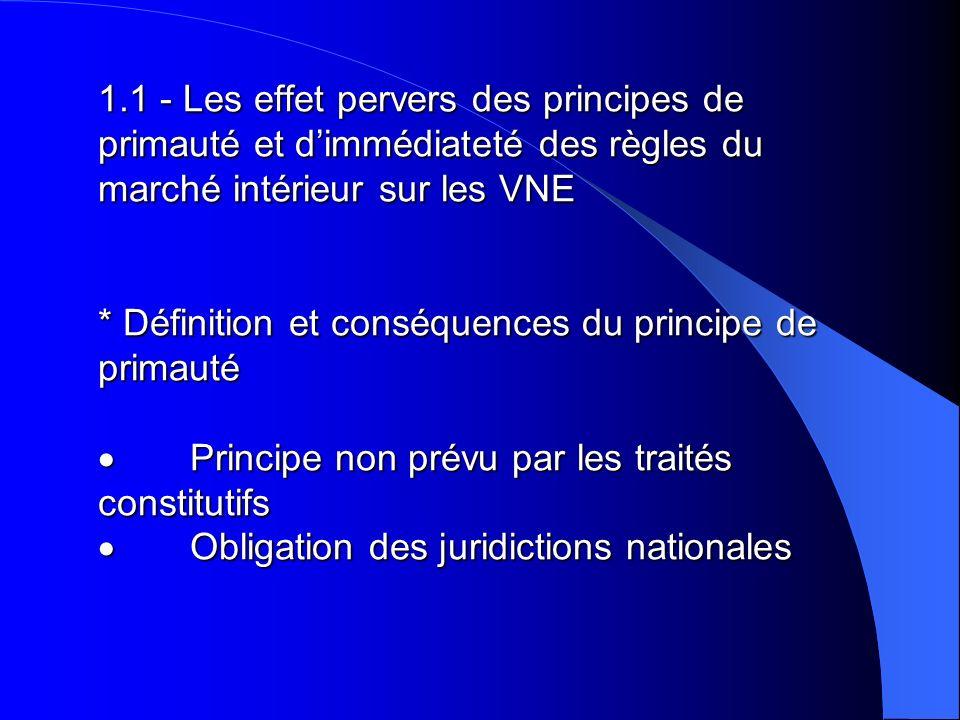 1.1 - Les effet pervers des principes de primauté et dimmédiateté des règles du marché intérieur sur les VNE * Définition et conséquences du principe