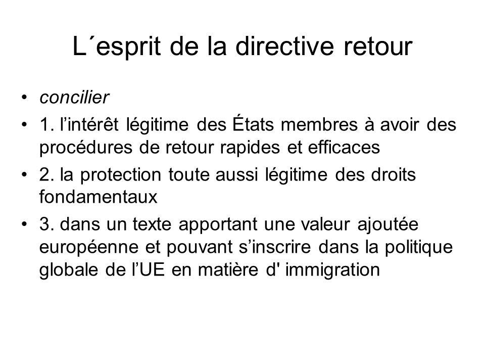 L´esprit de la directive retour concilier 1.