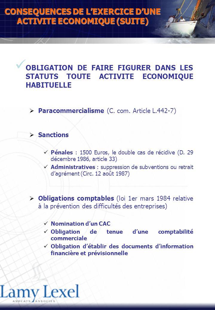 CONSEQUENCES DE LEXERCICE DUNE ACTIVITE ECONOMIQUE (SUITE) OBLIGATION DE FAIRE FIGURER DANS LES STATUTS TOUTE ACTIVITE ECONOMIQUE HABITUELLE Paracommercialisme (C.