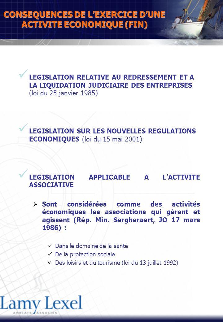 CONSEQUENCES DE LEXERCICE DUNE ACTIVITE ECONOMIQUE (FIN) LEGISLATION RELATIVE AU REDRESSEMENT ET A LA LIQUIDATION JUDICIAIRE DES ENTREPRISES (loi du 25 janvier 1985) LEGISLATION SUR LES NOUVELLES REGULATIONS ECONOMIQUES (loi du 15 mai 2001) LEGISLATION APPLICABLE A LACTIVITE ASSOCIATIVE Sont considérées comme des activités économiques les associations qui gèrent et agissent (Rép.