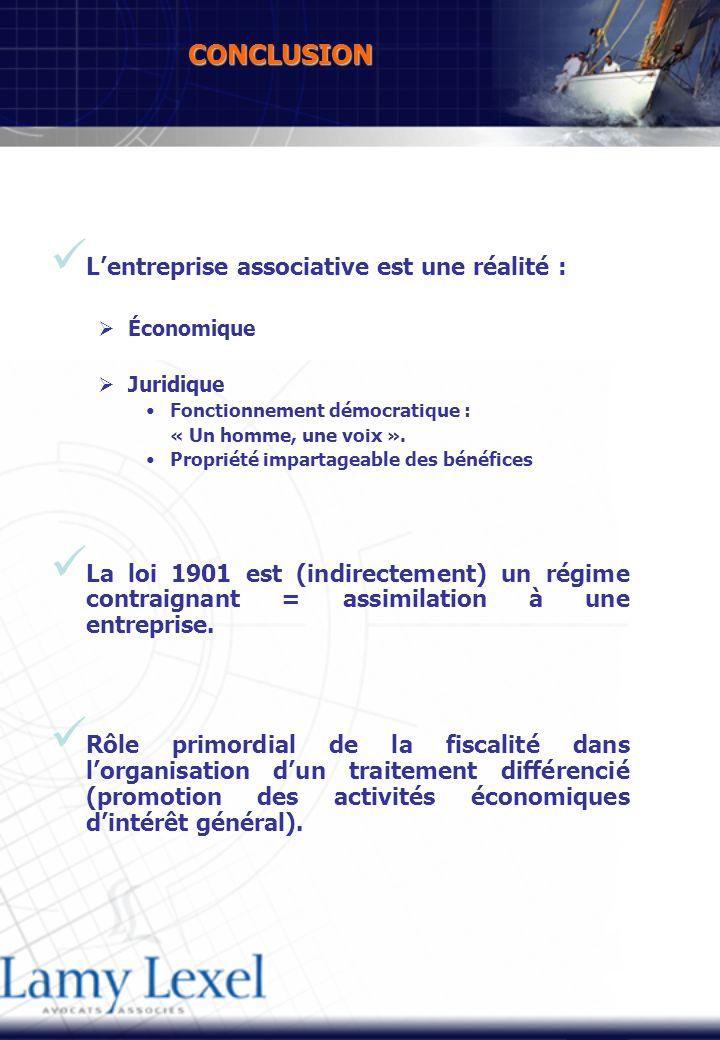 CONCLUSION Lentreprise associative est une réalité : Économique Juridique Fonctionnement démocratique : « Un homme, une voix ».