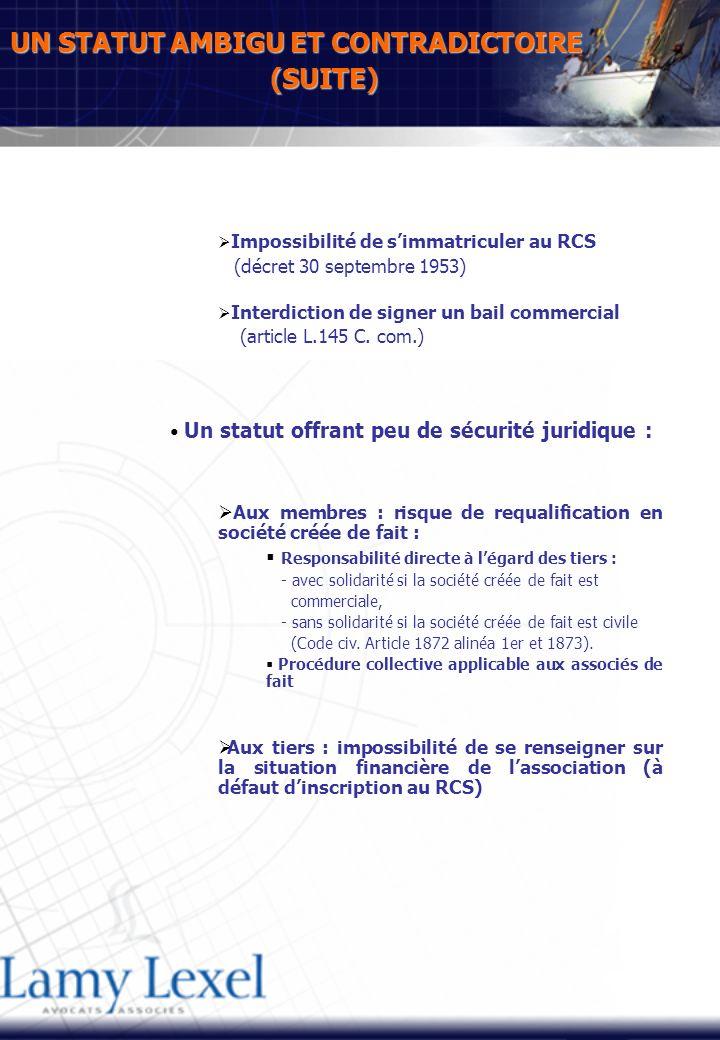 UN STATUT AMBIGU ET CONTRADICTOIRE (SUITE) Impossibilité de simmatriculer au RCS (décret 30 septembre 1953) Interdiction de signer un bail commercial (article L.145 C.