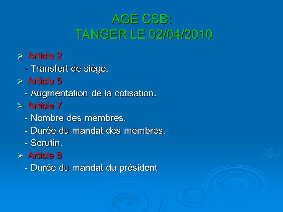 AGE CSB: TANGER LE 02/04/2010 Article 2 Article 2 - Transfert de siège.