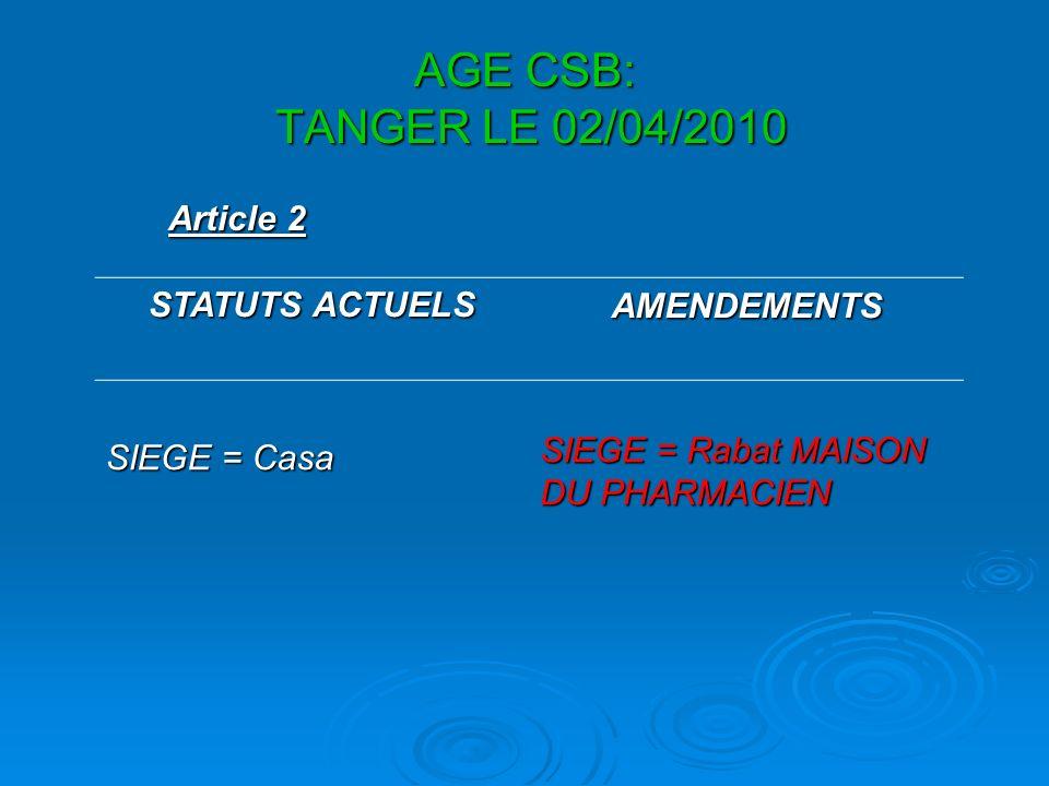 AGE CSB: TANGER LE 02/04/2010 Article 2 STATUTS ACTUELS AMENDEMENTS SIEGE = Casa SIEGE = Rabat MAISON DU PHARMACIEN