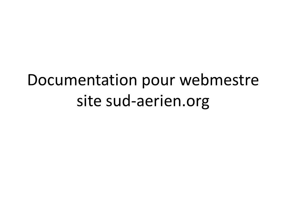 Documentation pour webmestre site sud-aerien.org