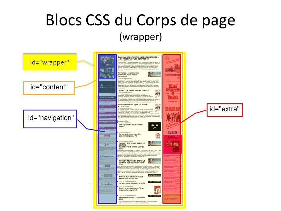 Blocs CSS du Corps de page (wrapper) id=