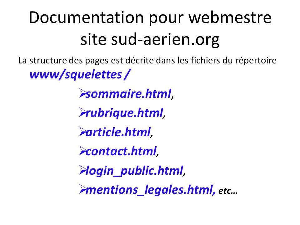 La structure des pages est décrite dans les fichiers du répertoire www/squelettes / sommaire.html, rubrique.html, article.html, contact.html, login_pu